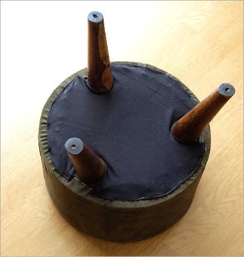 ウッド&レザー ラウンドスツール 3カラー(4)