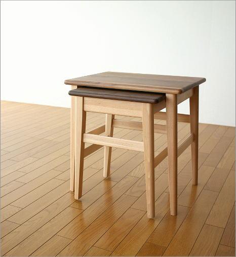 ナチュラルウッドのネストテーブル(6)