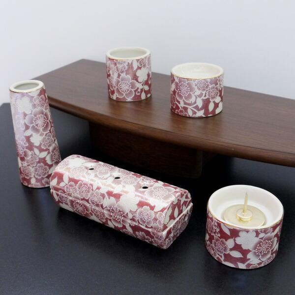 五具足 ゆい花 ワインレッド 筒型香呂
