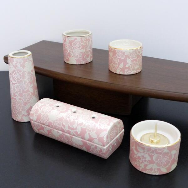 五具足 ゆい花 桜 筒型香呂