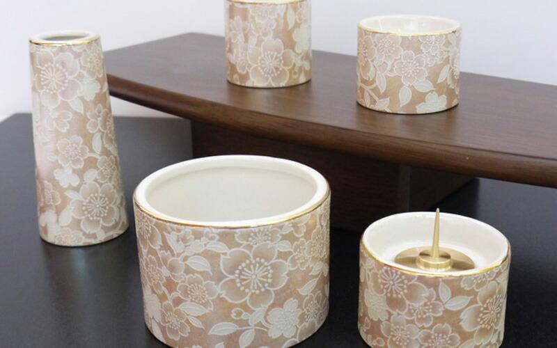 五具足 ゆい花 シャンパンゴールド 丸型香呂