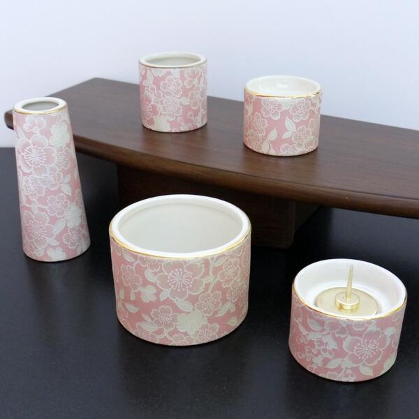 五具足 ゆい花 桜 丸型香呂