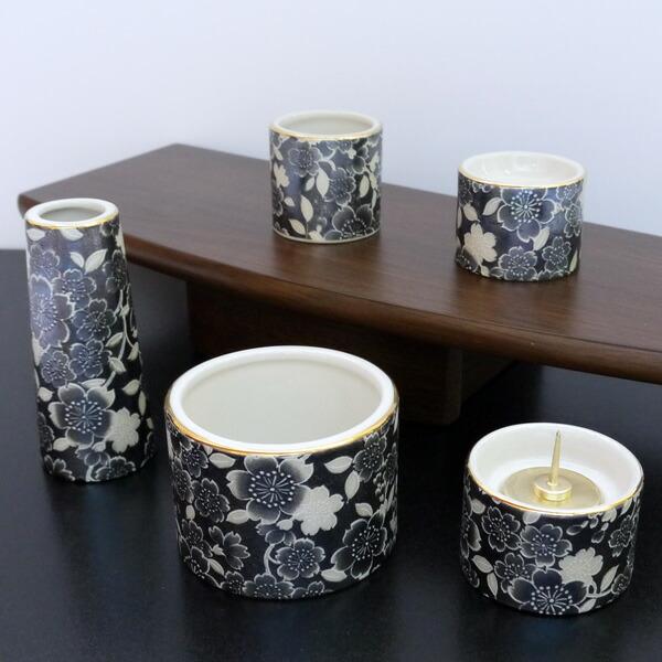 五具足 ゆい花 ブラックパール 丸型香呂