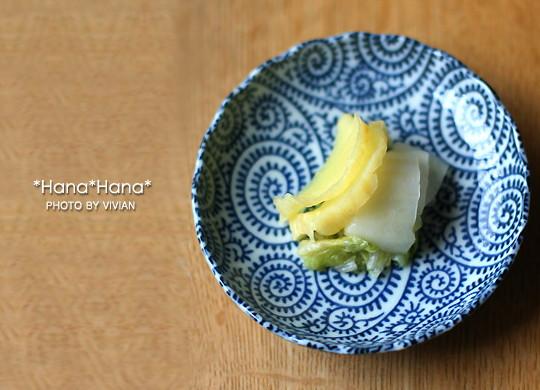 藍染タコ唐草/菊型12cm小皿