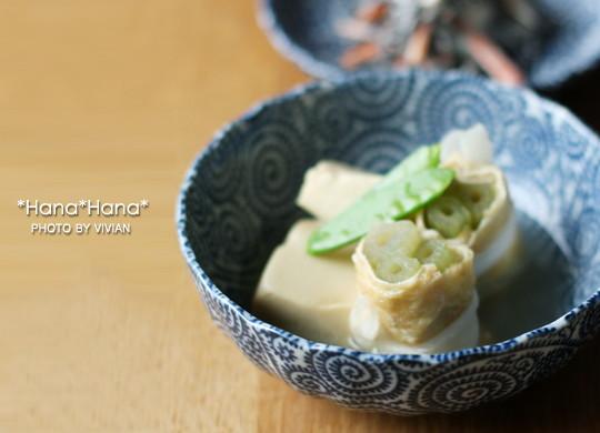 藍染タコ唐草/菊型14cm浅小鉢