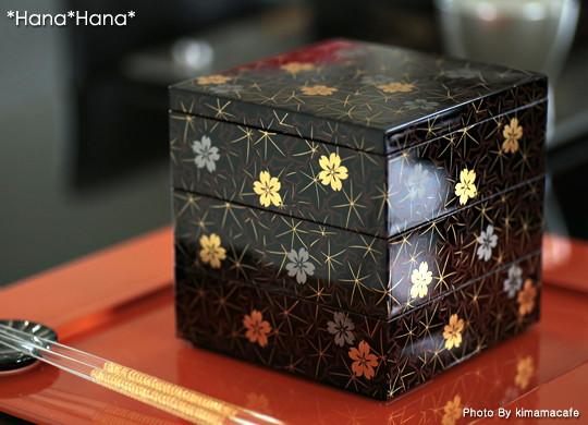 春秋4.0三段重箱 12cm 漆器