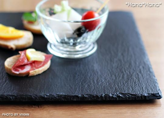 スレート食器 正角皿25cm 黒い食器