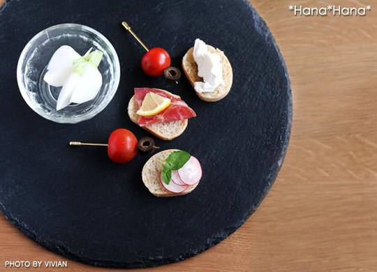 スレート食器 丸皿30cm 黒い食器