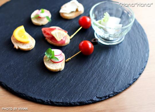スレート食器 丸皿35cm 黒い食器