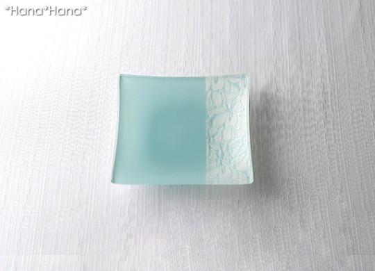 アートガラスプレート サラ 13cmスクエアプレート(ブルー)