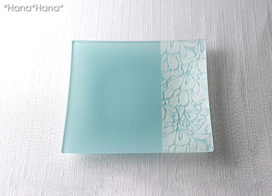 アートガラスプレート サラ 20cmスクエアプレート(ブルー)