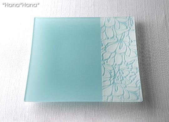アートガラスプレート サラ 25cmスクエアプレート(ブルー)