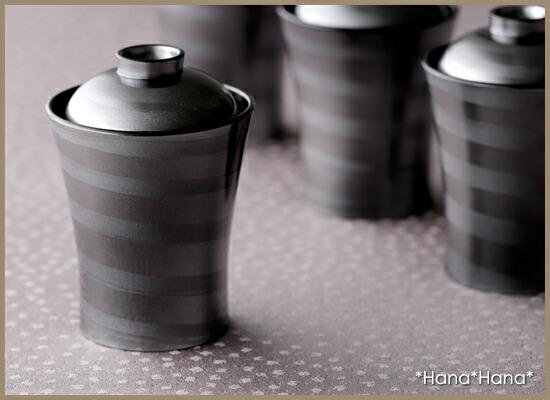 竹扇箸洗椀 華秀塗(シルバー) 渦内黒