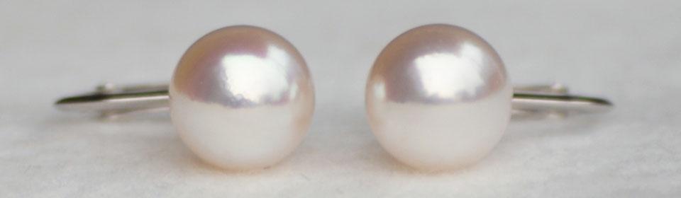 オーロラ花珠 アコヤ真珠イヤリング(またはピアス) S516021 自然光撮影