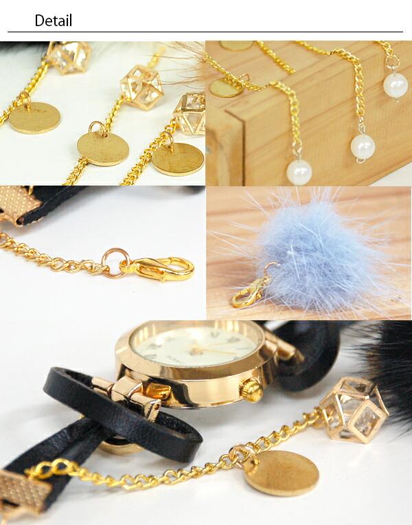 夏に大人気のブレスレット ミサンガウォッチ 海外セレブで流行の時計 ゴールド