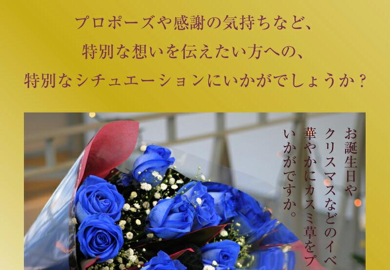 プロポーズや感謝の気持ちなど、特別な想いを伝えたい方への特別なシチュエーションにいかがでしょうか? 青いバラ 青バラ 青い薔薇 青薔薇
