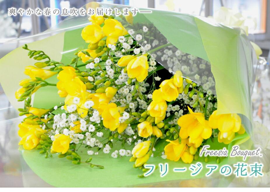 フリージアとカスミ草の花束