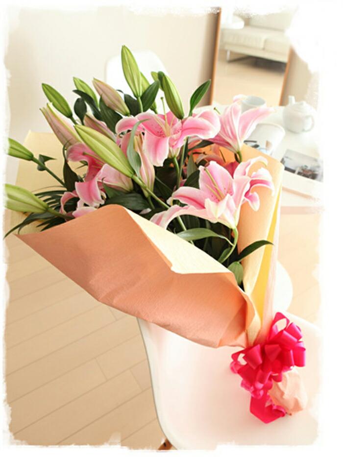 ピンク百合花束椅子