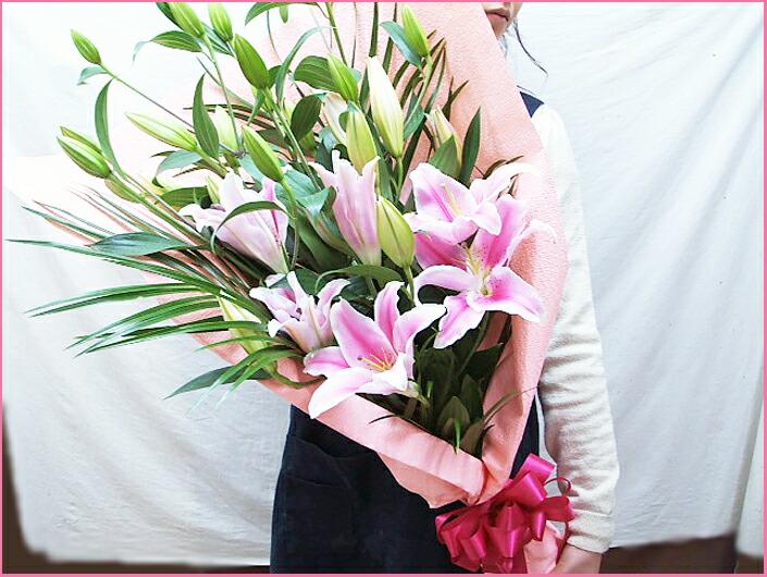 ピンクゆりの花束女性へのプレゼント