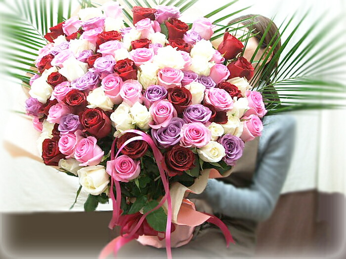 100本バラ花束