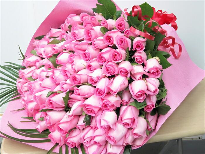 ピンク バラ100本花束