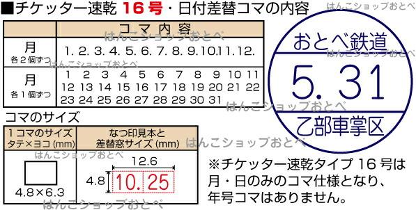 チケッター速乾・16号の日付コマ詳細