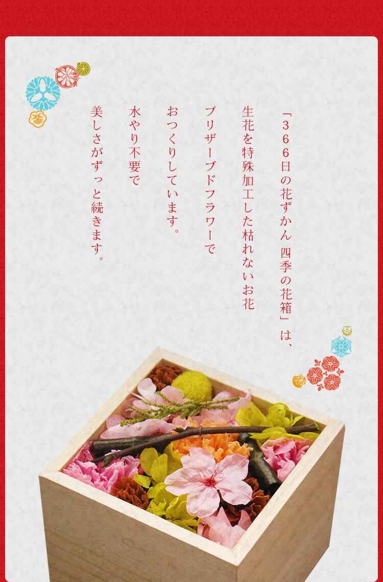 「366日の花ずかん 四季の花箱」は、生花を特殊加工した枯れないお花・プリザーブドフラワーでおつくりしています。水やり不要で美しさがずっと続きます。
