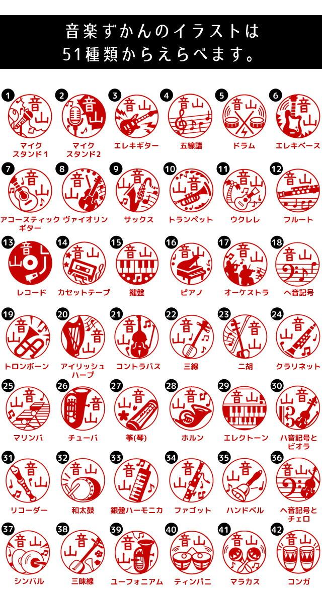 音楽ずかんのイラストは51種類からえらべます。