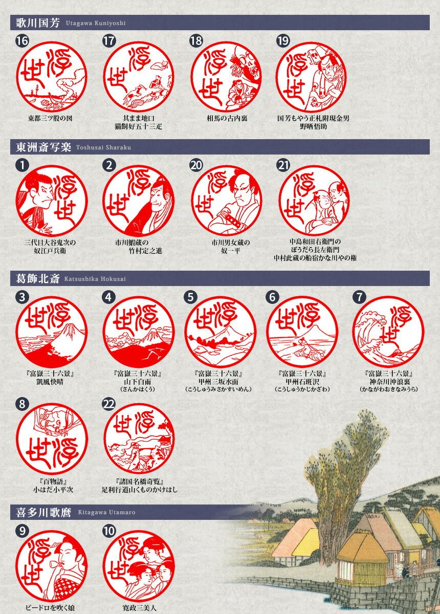 「浮世絵図鑑」のイラスト24種類の印影画像