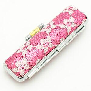 きらめきラメケース/花柄ピンク
