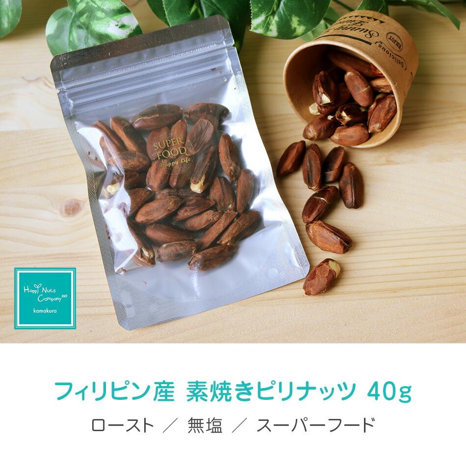 ハッピーナッツカンパニー フィリピン産 素焼きピリナッツ 無塩 40g