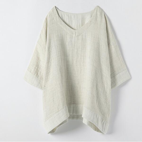 プリスティン オーガニックコットン&リネン ダブルガーゼシャツ(8分袖) M