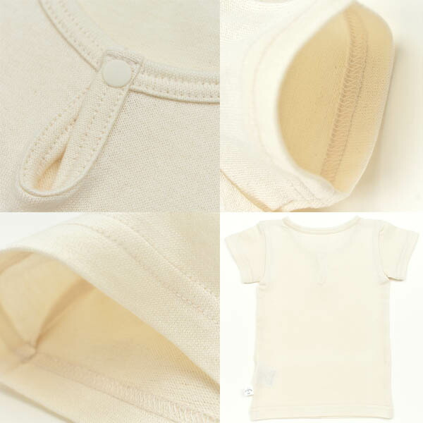 915c67aec8e03 育児工房のオーガニックコットン ベビーボタン付きシャツ(半袖)です。 シンプルな丸首の襟もとは、ワンスナップボタンがポイントです。