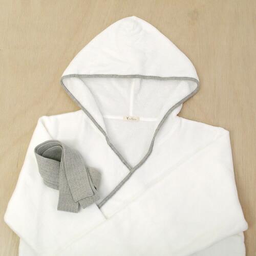 オーガニックコットン メンズフード付きバスローブ