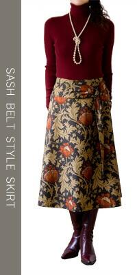 moda Japan ウィリアム・モリス アネモネ 仕立て サッシュベルト風 スカート