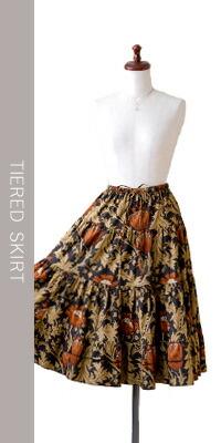 moda Japan ウィリアム・モリス アネモネ 仕立て Aライン 5段ティアードスカート