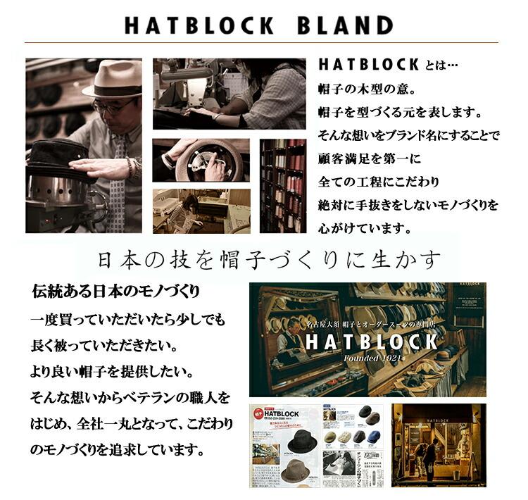 HATBLOCKとは…帽子の木型の意。帽子を型づくる元を表します。そんな想いをブランド名にすることで顧客満足を第一に全ての工程にこだわり絶対に手抜きをしないモノづくりを心がけています。