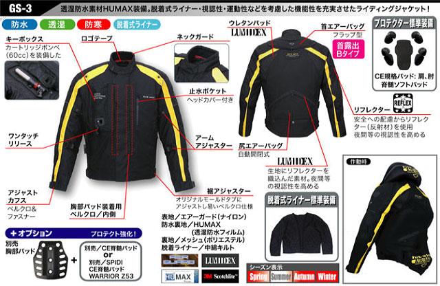 【ヒットエアー】エアーバッグジャケット GS3-Sイエロー 3XL