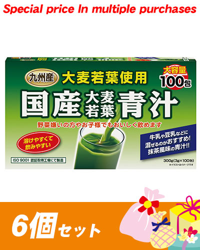国産大麦若葉青汁 3g×100包×6個セット