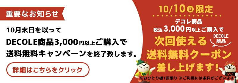 デコレ3000円以上購入で送料無料終了のお知らせ