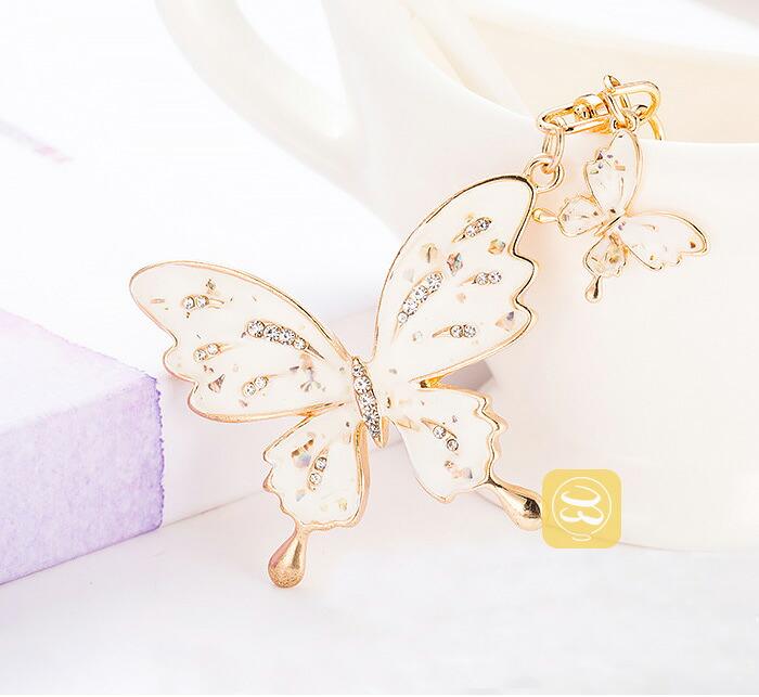 女性に人気なバッグチャーム キラキララインストーン 蝶
