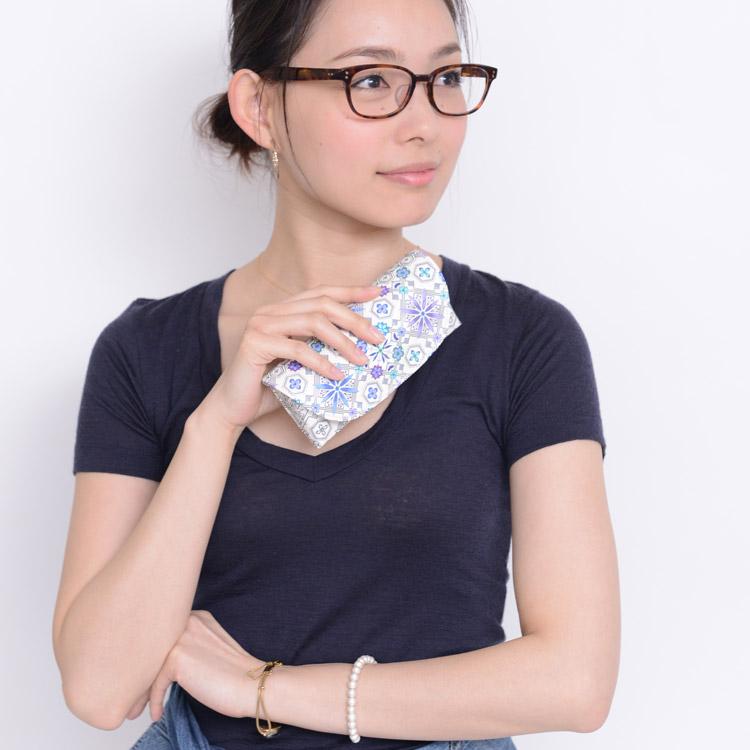 浅草文庫革 友禅染 文庫革 花菱 江戸小紋 眼鏡入れ 眼鏡ケース メガネケース サングラスケース 小銭入れ