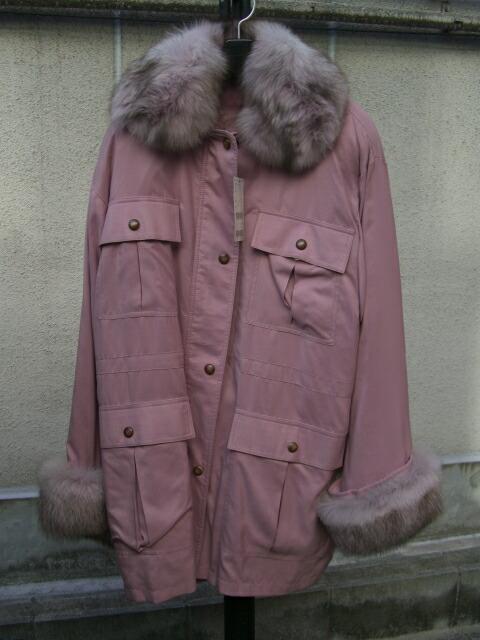 ピーチスキン&フォックストリミング フード付きコート【ピンク】