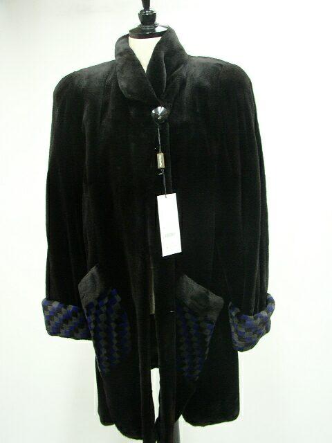 【毛皮/ファー】シェアードミンク チェックデザインコート【全2色・フリーサイズ】【送料無料/レディース】