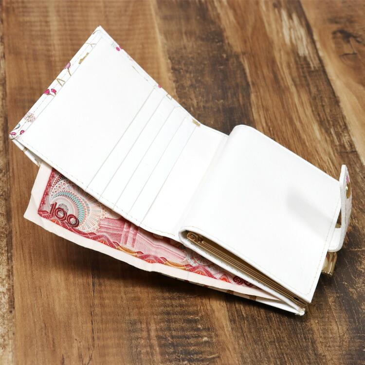 姫革細工 文庫革 がま口 二つ折り財布 猫柄