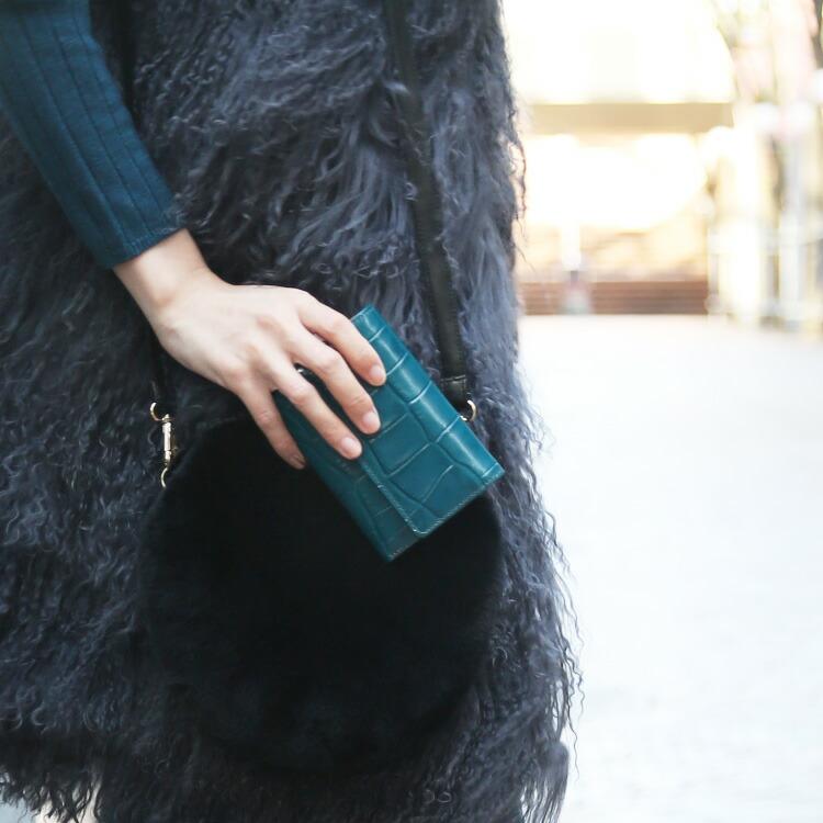 日本製 牛革 マット レザー クロコダイル型押し フラップ ミニ 二つ折り財布