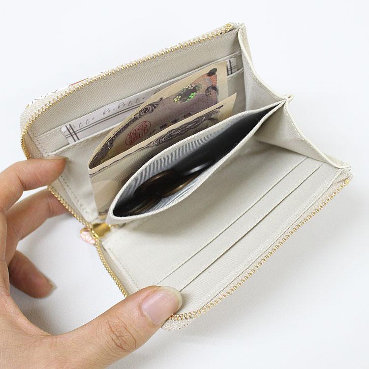 「浅草文庫」 ラウンドファスナー ミニ財布 ふくろう柄 根付付き