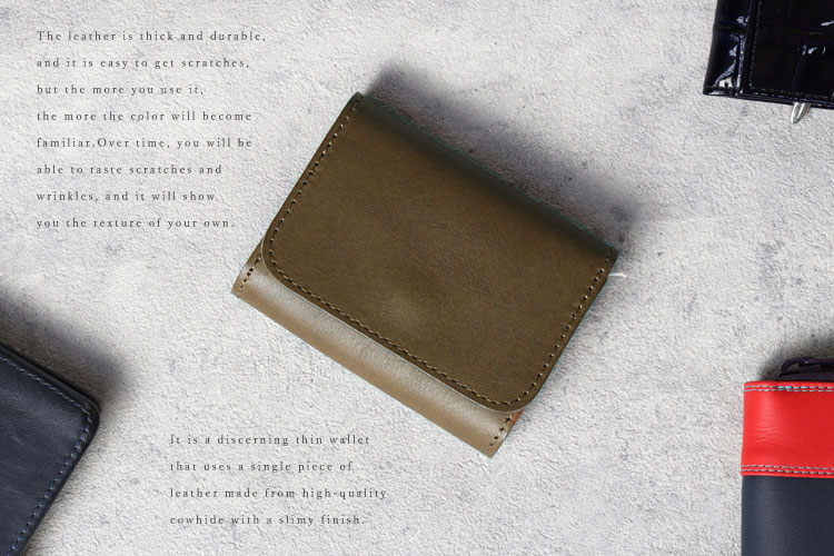 日本製 本革 シンプル コンパクト財布 コインケース