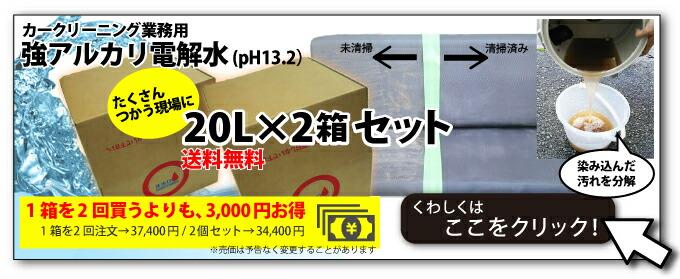 ヒダカ 強アルカリ電解水(pH13.2)20L×2箱セット
