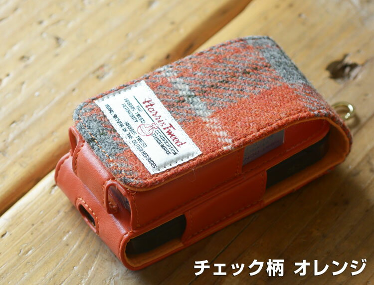 おしゃれかわいいアイコスIQOSケースレザー 革カラビナアイコス電子タバコハリスツイードふわふわチェック